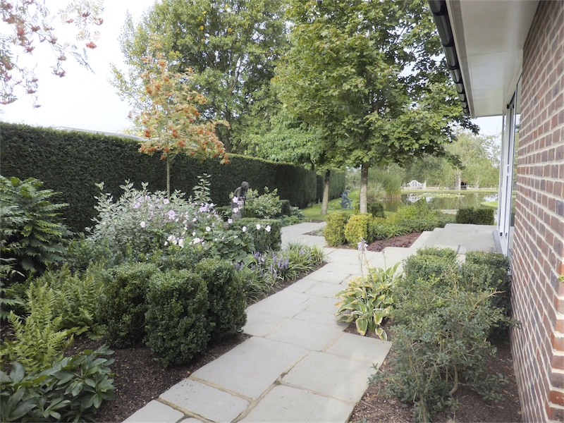 country garden with a large feature pond - Garden Design Kent